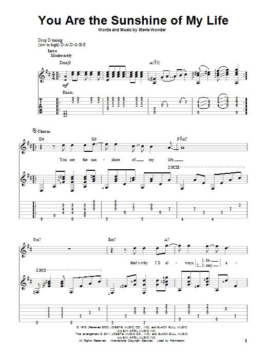 Tablature guitare You Are The Sunshine Of My Life de Stevie Wonder - Tablature Guitare