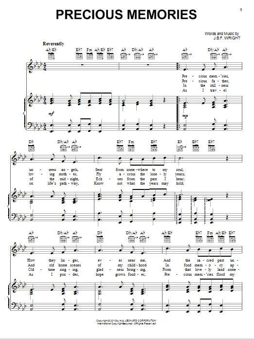 Partition piano Precious Memories de J.B.F. Wright - Piano Voix Guitare (Mélodie Main Droite)