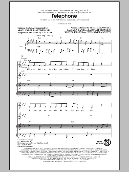 Telephone sheet music for choir and piano (SSA) by Beyonce Knowles