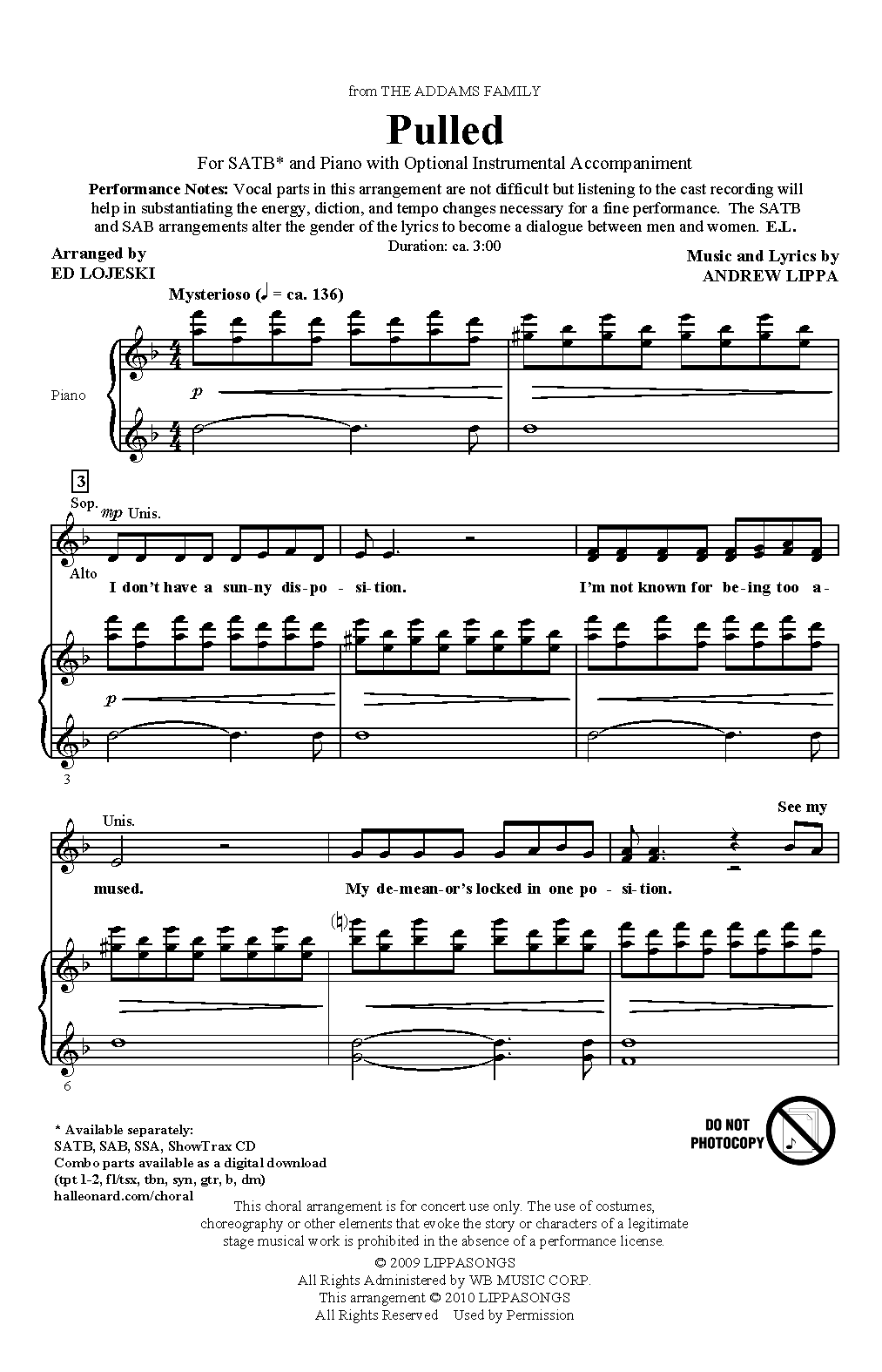 Partition chorale Pulled (from The Addams Family) de Ed Lojeski - SATB