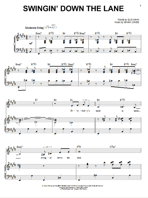 Partition piano Swingin' Down The Lane de Frank Sinatra - Piano Voix