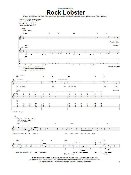 Rock Lobster Guitar Tab by The B-52's (Guitar Tab – 77397)