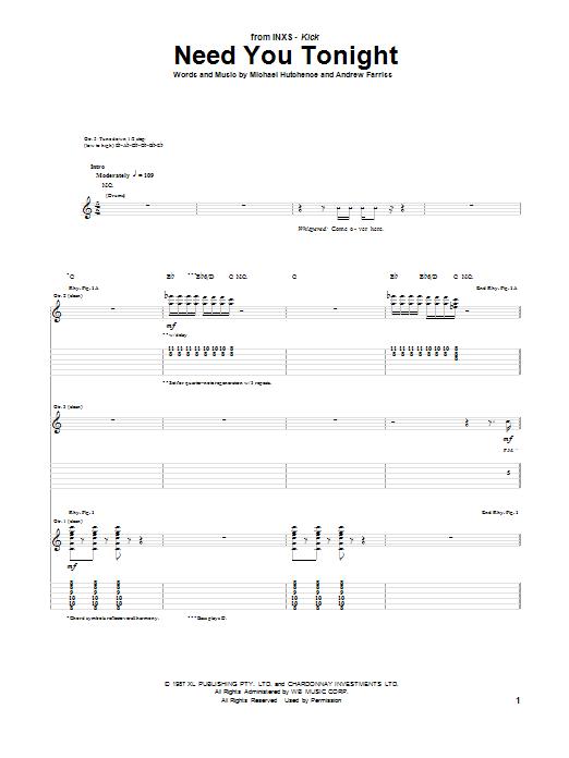 Tablature guitare Need You Tonight de INXS - Tablature Guitare