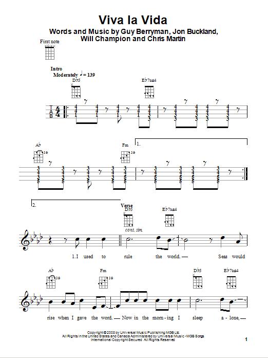 Tablature guitare Viva La Vida de Coldplay - Ukulele