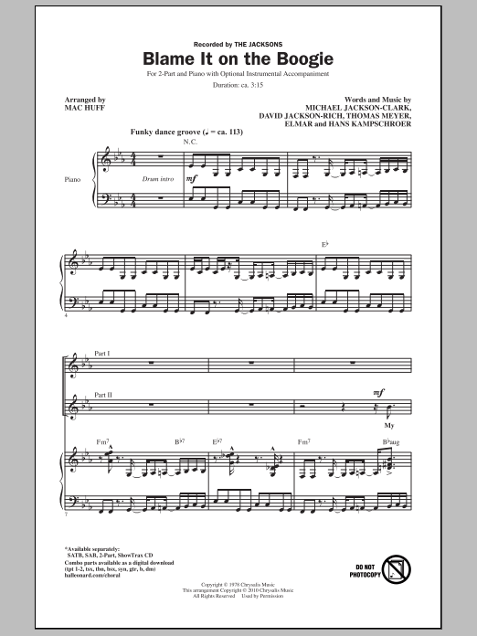 Blame It On The Boogie sheet music for choir and piano (duets) by David Jackson Rich
