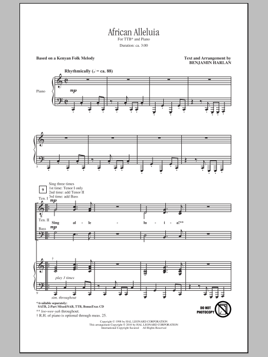 African Alleluia sheet music for choir and piano (TTBB)