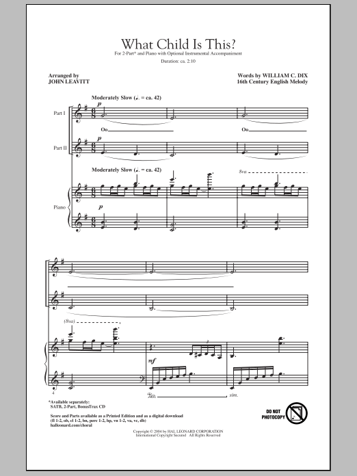 What Child Is This? sheet music for choir and piano (duets) by William Chatterton Dix