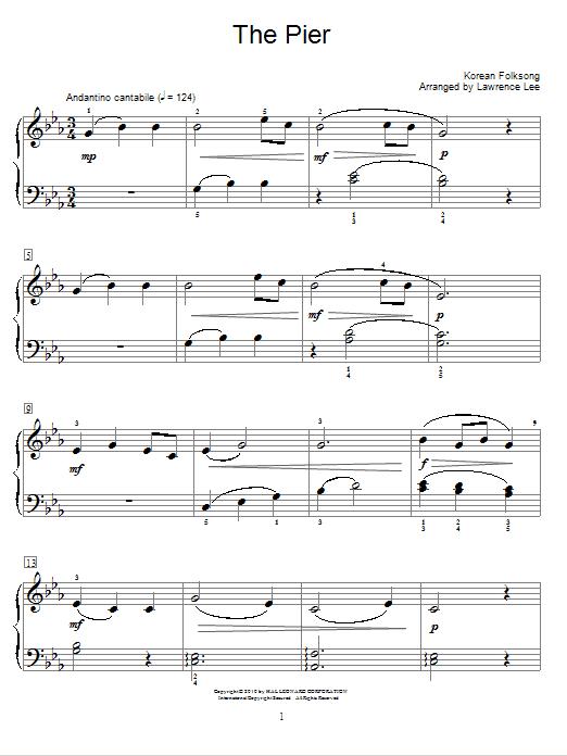 Partition piano The Pier de Korean Folksong - Piano Facile
