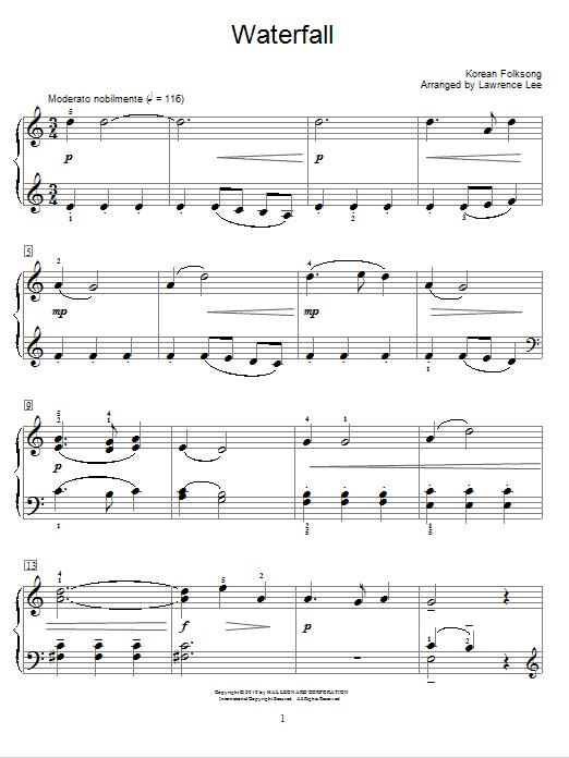 Partition piano Waterfall de Korean Folksong - Piano Facile