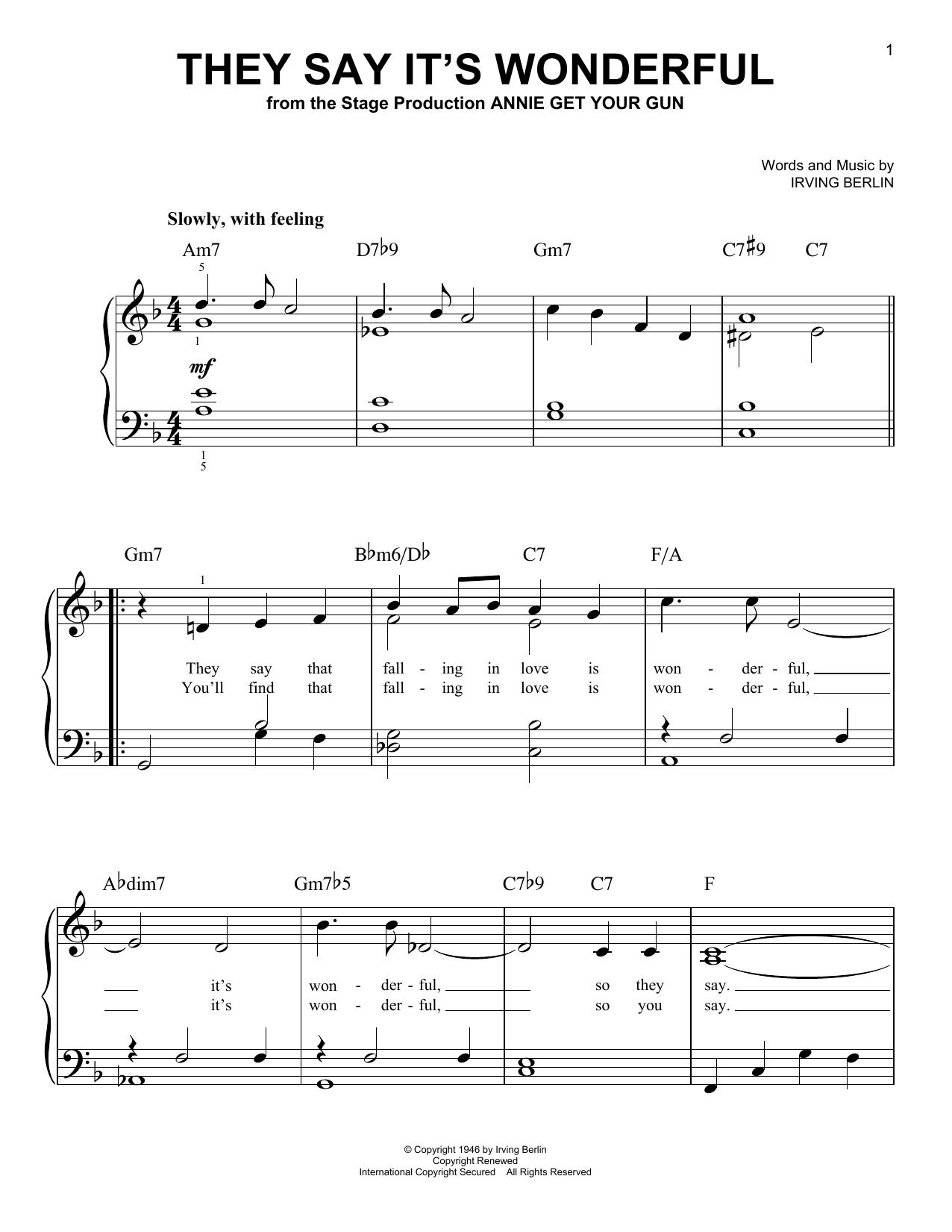 Partition piano They Say It's Wonderful de Ethel Merman - Piano Facile