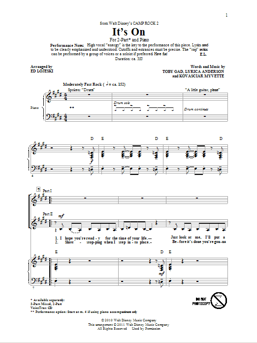 Partition chorale It's On de Ed Lojeski - 2 voix