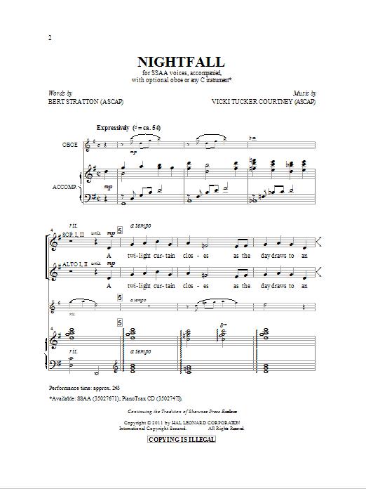 Partition chorale Nightfall de Bert Stratton - SSA
