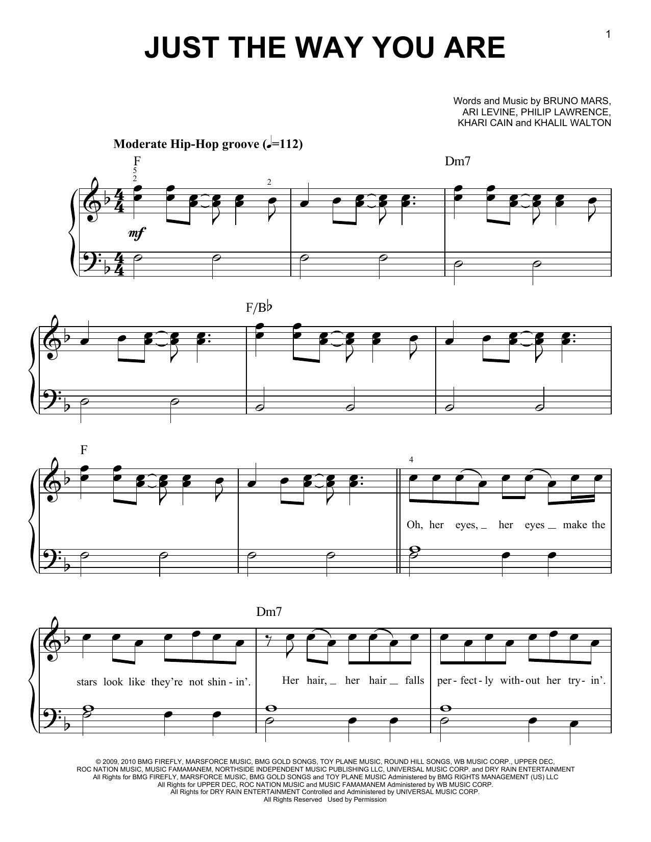 Just The Way You Are Sheet Music By Bruno Mars Easy Piano