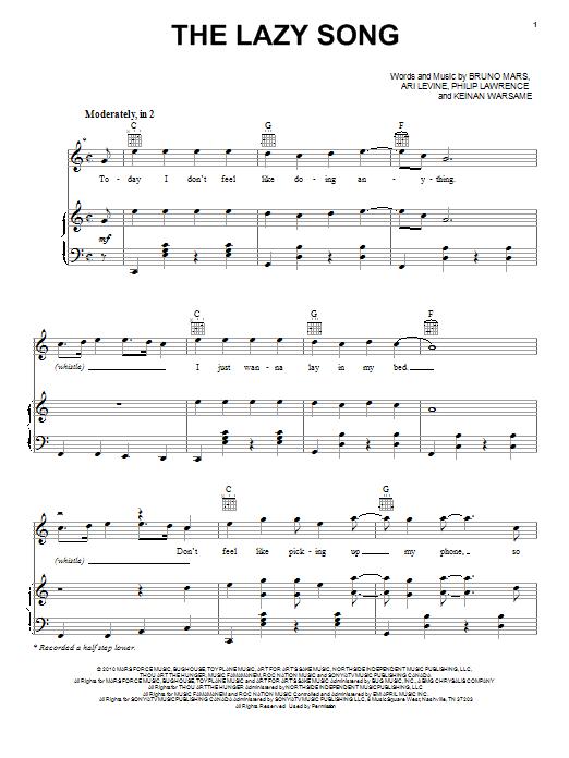 Sheet Music Digital Files To Print - Licensed Bruno Mars Digital ...