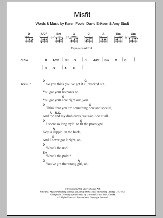 Misfit sheet music for guitar solo (chords, lyrics, melody) by Karen Poole