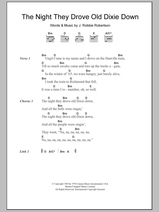 The Night They Drove Old Dixie Down sheet music for guitar solo (chords, lyrics, melody) by Robbie Robertson