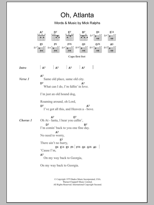 Oh, Atlanta sheet music for guitar solo (chords, lyrics, melody) by Mick Ralphs