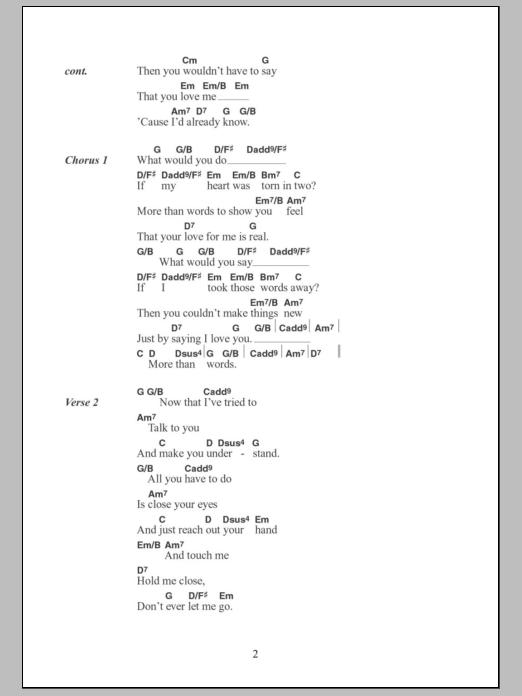 More Than Words Lyrics And Guitar Chords