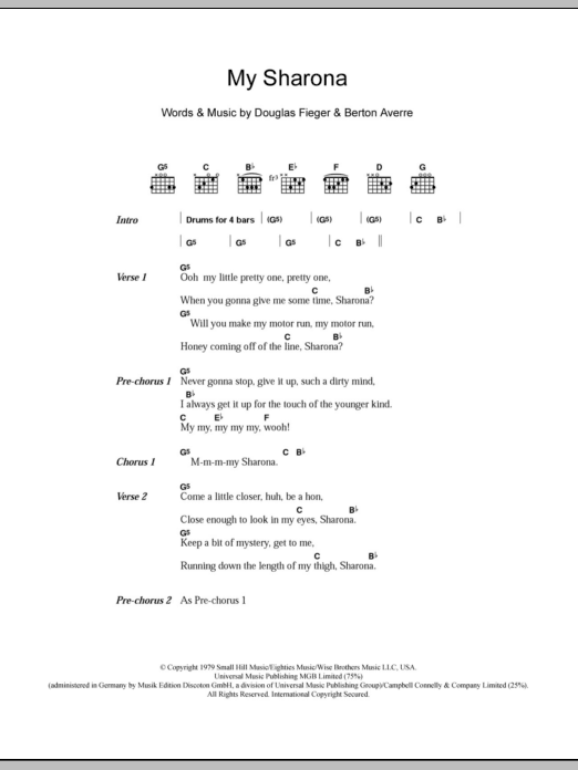 My Sharona sheet music for guitar solo (chords, lyrics, melody) by Doug Fieger