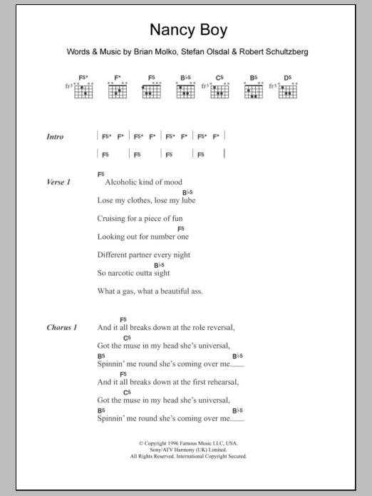 Nancy Boy sheet music for guitar solo (chords, lyrics, melody) by Stefan Olsdal