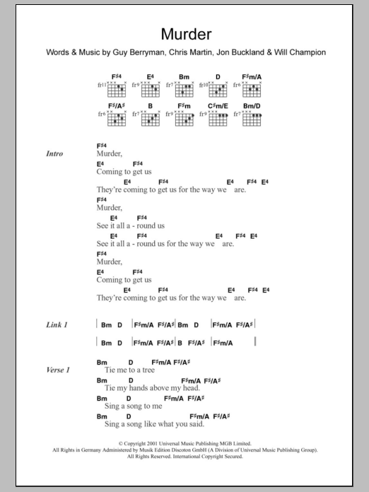 Sheet Music Digital Files To Print - Licensed Guy Berryman Digital ...