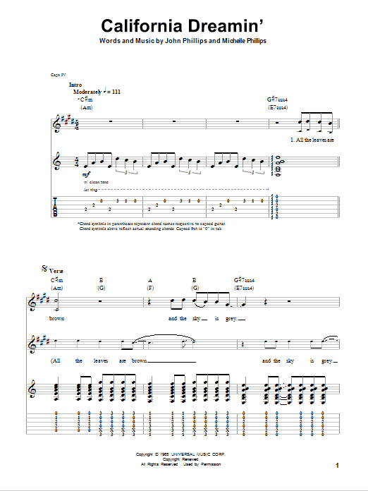 Tablature guitare California Dreamin' de The Mamas & The Papas - Tablature Guitare