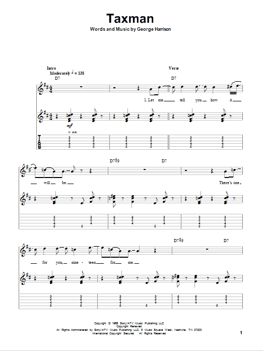Tablature guitare Taxman de The Beatles - Tablature Guitare