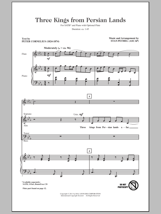 Three Kings From Persian Lands sheet music for choir and piano (SATB) by Peter Cornelius