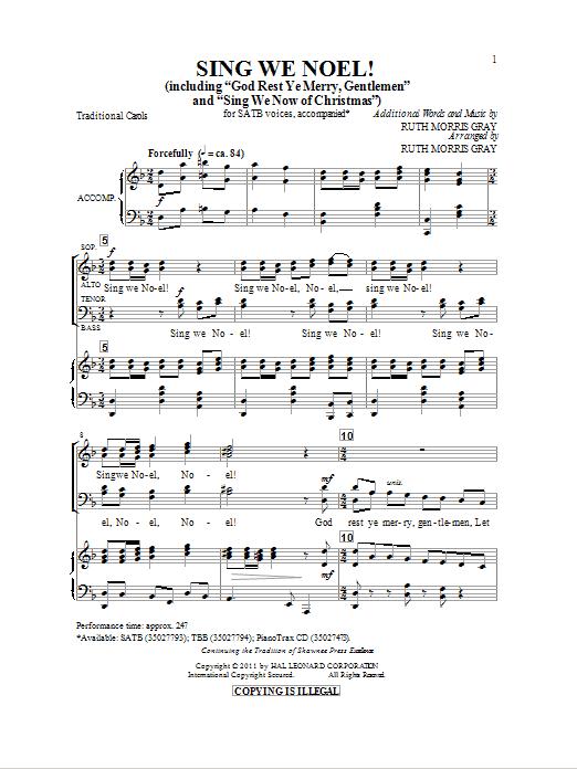 Partition chorale Sing We Noel de Ruth Morris Gray - SATB
