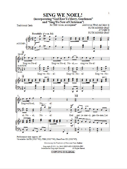 Partition chorale Sing We Noel de Ruth Morris Gray - TBB