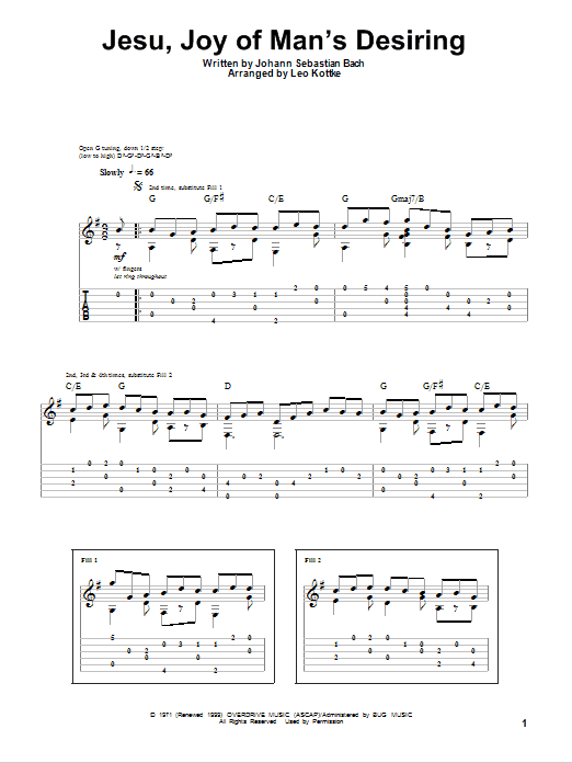 Tablature guitare Jesu, Joy Of Man's Desiring de Leo Kottke - Tablature Guitare