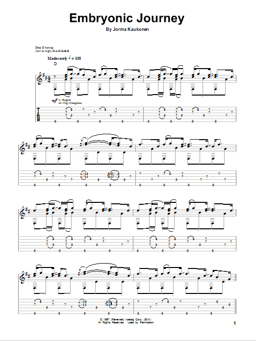 Tablature guitare Embryonic Journey de Jorma Kaukonen - Tablature Guitare