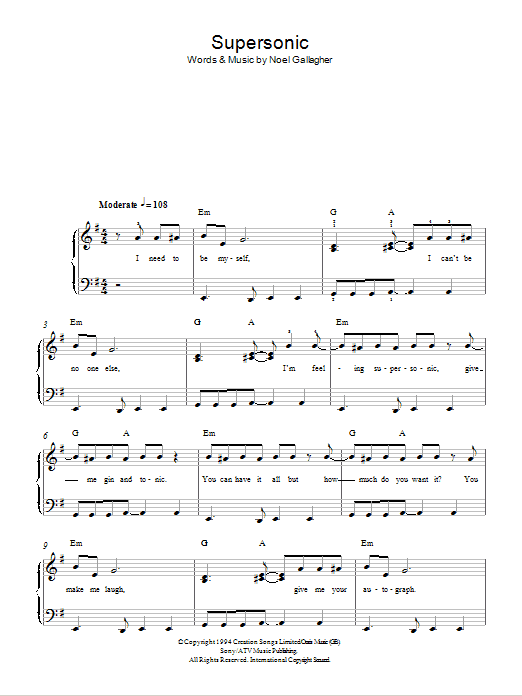 Supersonic sheet music for piano solo (chords) by Noel Gallagher