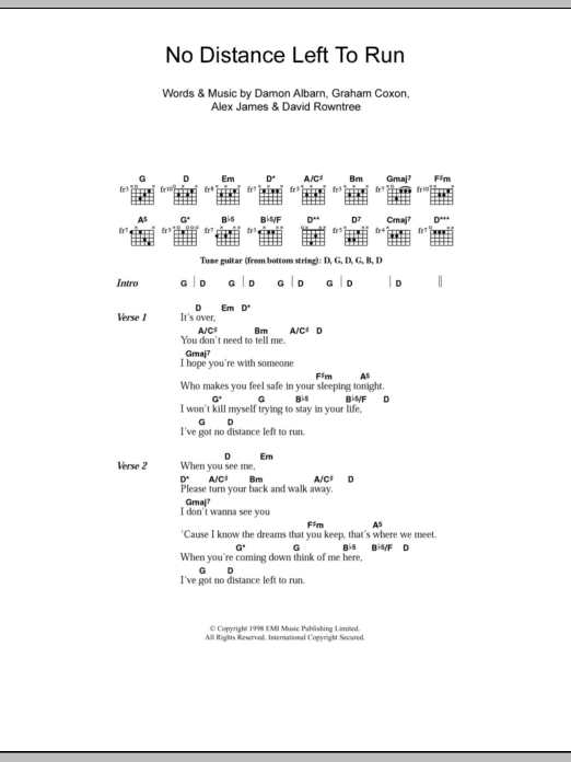 No Distance Left To Run sheet music for guitar solo (chords, lyrics, melody) by Graham Coxon