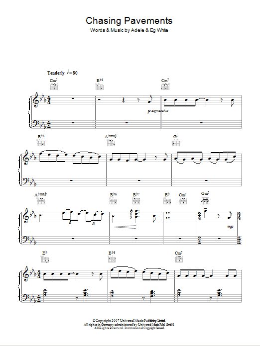 Chasing Pavements sheet music for piano solo (chords) by Eg White