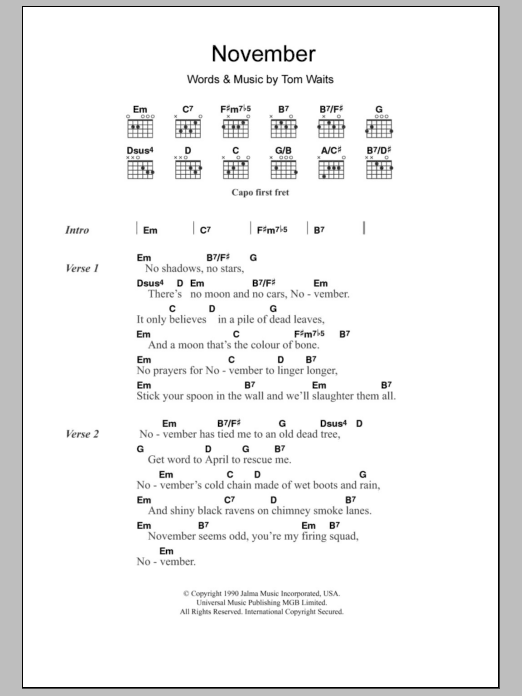 Sheet Music Digital Files To Print - Licensed Tom Waits Digital ...
