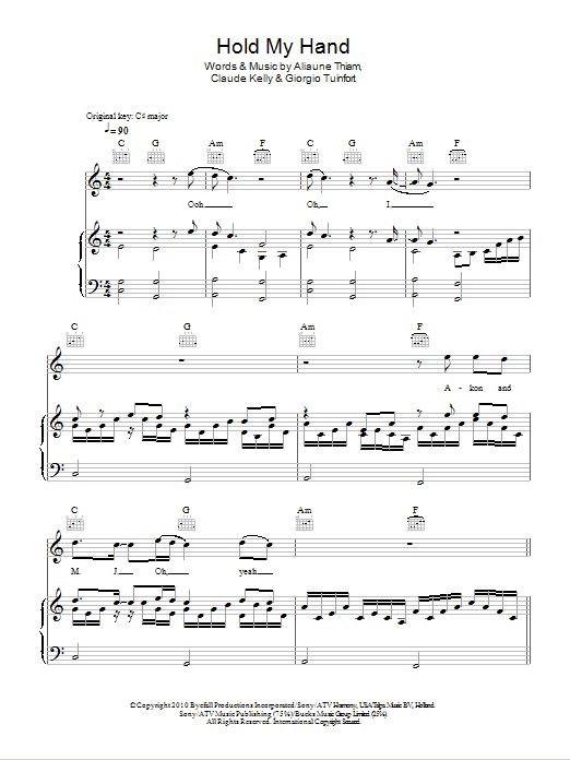 Hold My Hand sheet music for voice, piano or guitar by Giorgio Tuinfort
