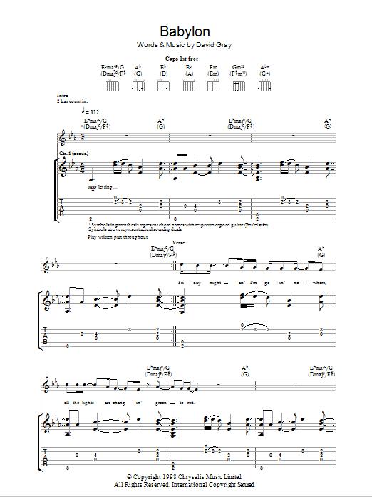 DAVID GRAY - BABYLON LYRICS - SongLyrics.com