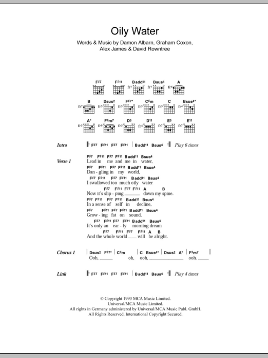 Oily Water sheet music for guitar solo (chords, lyrics, melody) by Graham Coxon