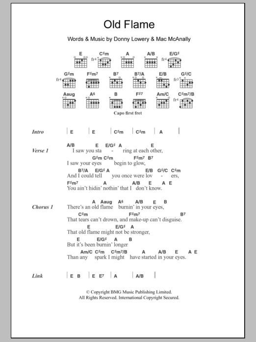 Old Flame sheet music for guitar solo (chords, lyrics, melody) by Mac McAnally