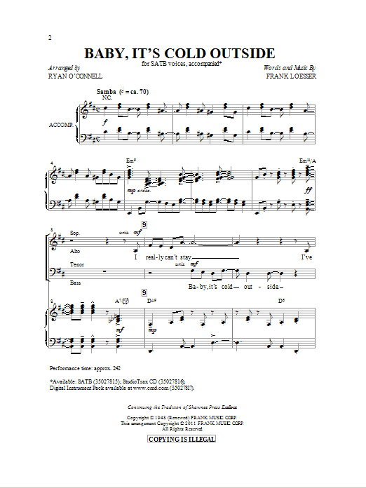 Partition chorale Baby, It's Cold Outside de Ryan O'Connell - SATB