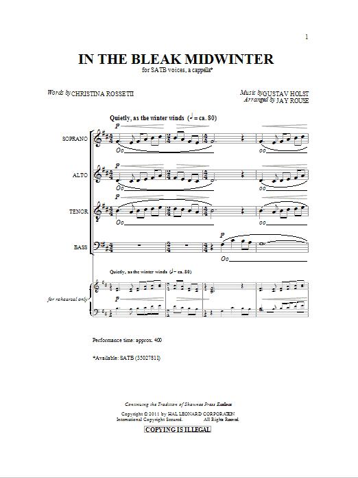 Partition chorale In The Bleak Midwinter de Jay Rouse - SATB