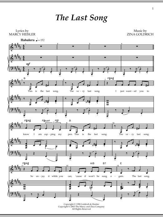 Partition piano The Last Song de Goldrich & Heisler - Piano Voix