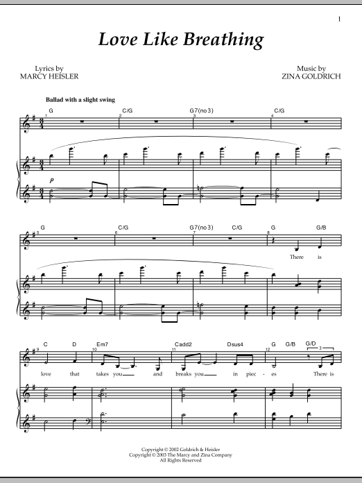 Partition piano Love Like Breathing de Goldrich & Heisler - Piano Voix