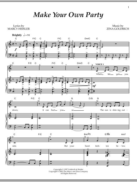 Partition piano Make Your Own Party de Goldrich & Heisler - Piano Voix