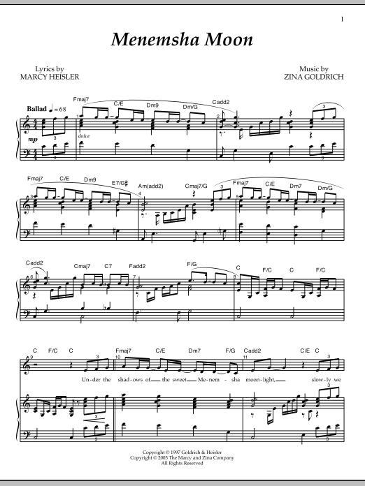 Partition piano Menemsha Moon de Goldrich & Heisler - Piano Voix