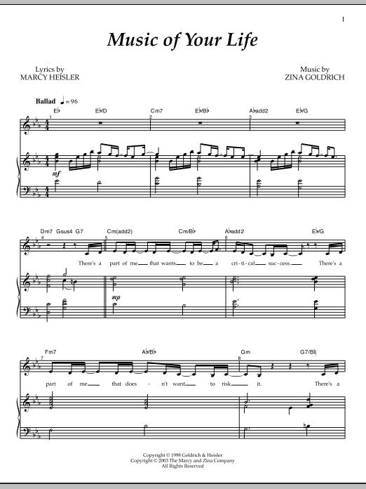 Partition piano Music Of Your Life de Goldrich & Heisler - Piano Voix