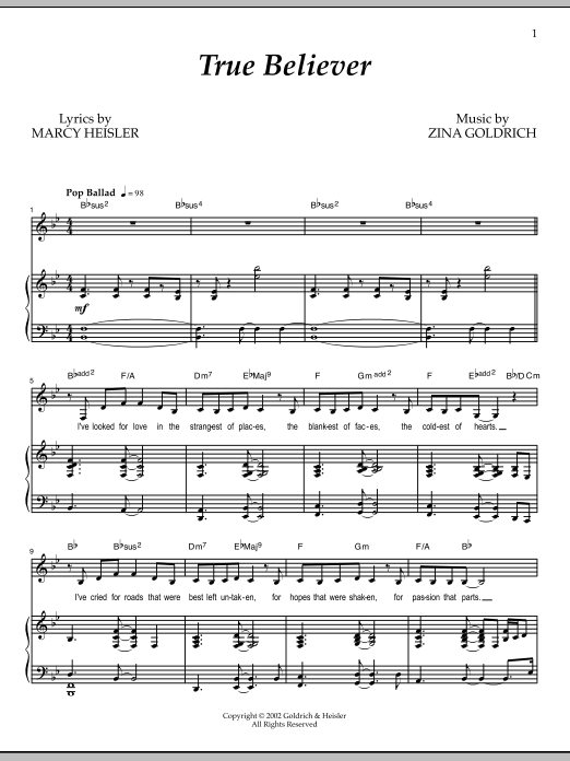 Partition piano True Believer de Goldrich & Heisler - Piano Voix
