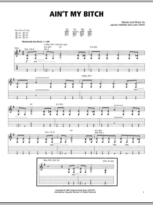 Tablature guitare Ain't My Bitch de Metallica - Tablature Guitare
