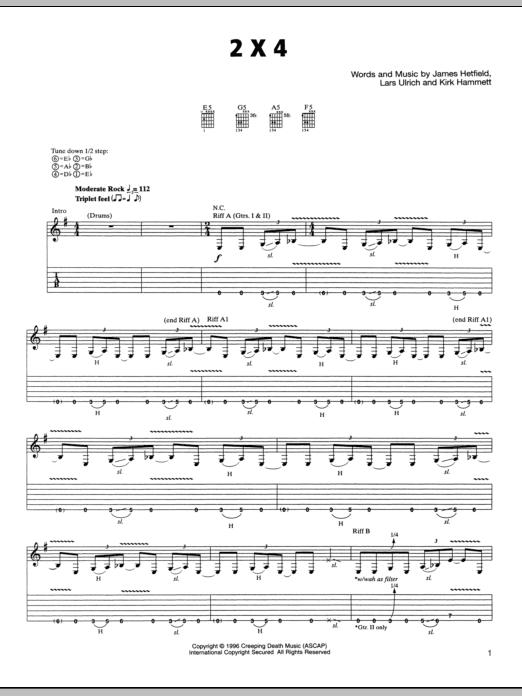 Tablature guitare 2 x 4 de Metallica - Tablature Guitare